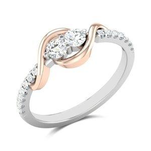 Cute 925 Silver Round Cut White Sapphire Ring New
